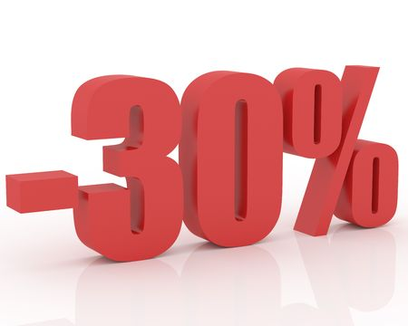 3D signs showing 30% discount and clearance Stock Photo - 3579286