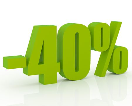 3D signs showing 40% discount and clearance Stock Photo - 3579280