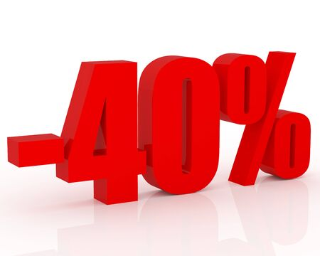 3D signs showing 40% discount and clearance Stock Photo