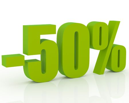 3D signs showing 50% discount and clearance Stock Photo - 3579282