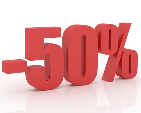 3D signs showing 50% discount and clearance