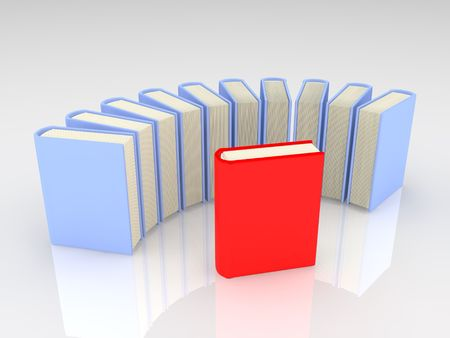 Colorful books on white background.