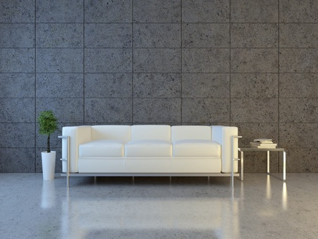 Modern interior with sofa and bonsai  Stock Photo