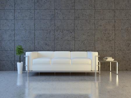 Modern Interior with Sofa und bonsai  Standard-Bild - 8796719
