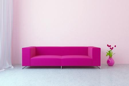 Modern Interior with Sofa und Tulpen Standard-Bild - 8796721