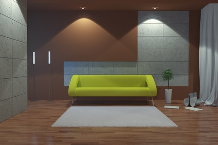 Modern interior at night Stock Photo - 9964248