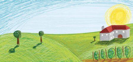 rolling landscape: Vineyard vector illustration Illustration