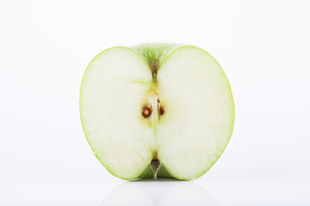 granny smith: Green Granny Smith apple slice Stock Photo