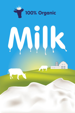 Organic milk label with splashes, cows and farm  Illustration