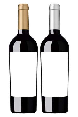 Red wine blank bottle with labels ready for branding