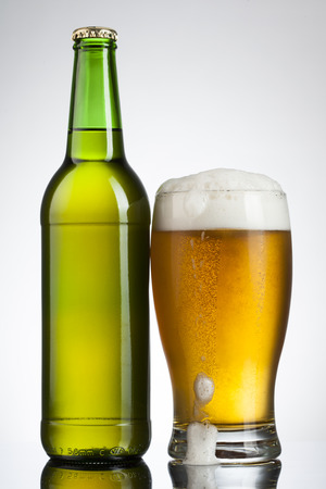 Beer in glass and bottle
