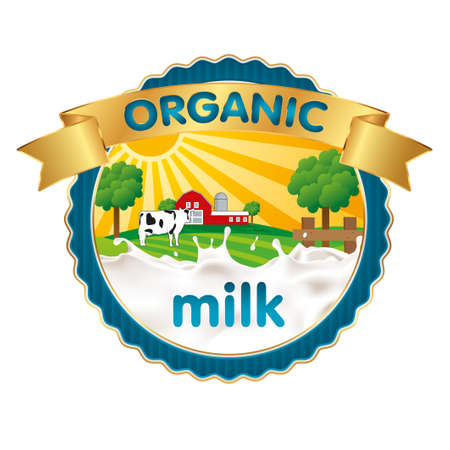 Organic milk label design with splash of milk. Vector illustration.