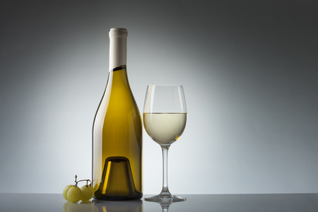 muscadet: Wine bottle and glass with copy space