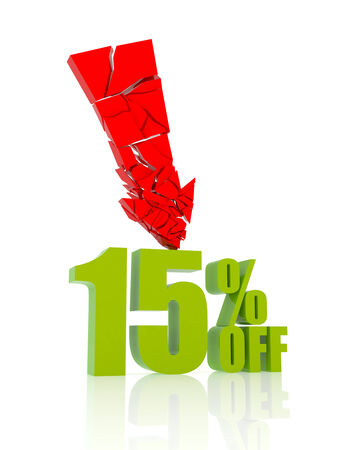 15: 15 percent discount icon on white background