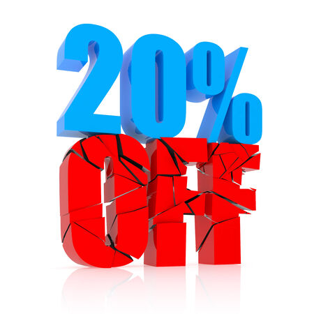 sellout: 20 percent discount icon on white background Stock Photo