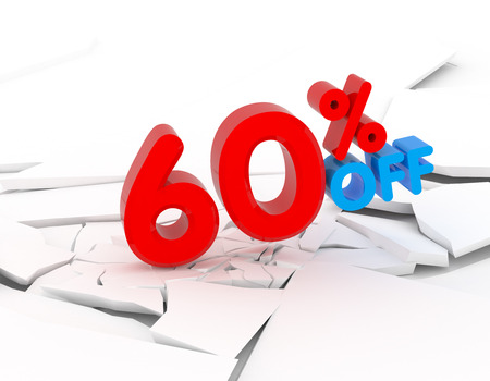 60: 60 percent discount icon on white background