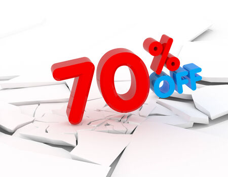 70: 70 percent discount icon on white background