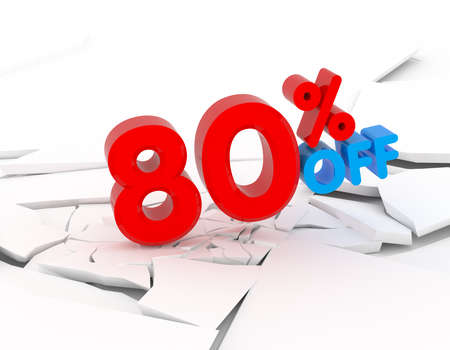 sellout: 80 percent discount icon on white background Stock Photo