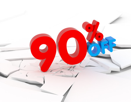 90: 90 percent discount icon on white background