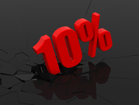10 percent discount icon on black cracked background