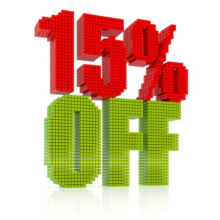 15 percent discount icon on white background