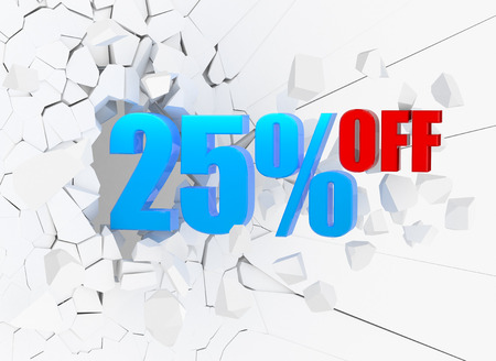 25 percent discount icon on white cracked wall Stock Photo
