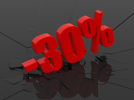 sellout: 30 percent discount icon on black cracked background