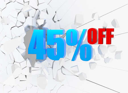 45: 45 percent discount icon on white cracked wall