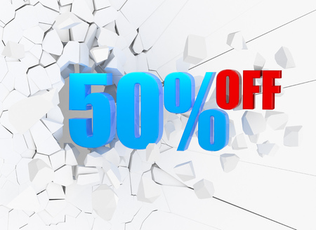 50 percent discount icon on white cracked wall Stock Photo