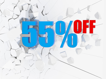 55 percent discount icon on white cracked wall photo