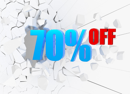70 percent discount icon on white cracked wall