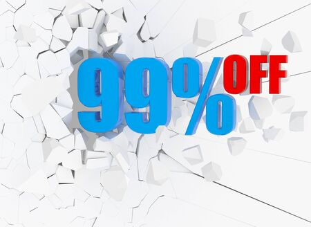 sellout: 99 percent discount icon on white cracked wall