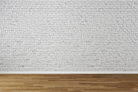 Modern empty interior with brick wall and wooden floor Stock Photo