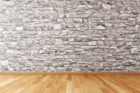 copy room: Empty room with stone wall and wooden floor Stock Photo