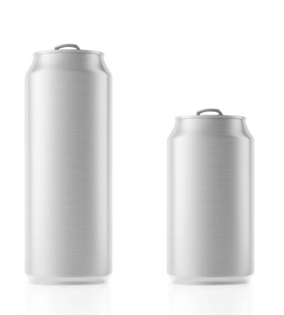 Aluminum cans with copy space isolated on white Stock Photo