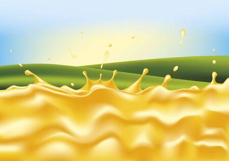 soda splash: Honey splash with landscape background. Vector illustration Illustration