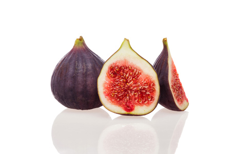 sweet segments: Fresh common fig Ficus carica isolated on white background Stock Photo