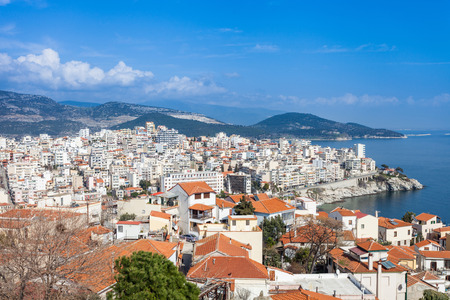 aegean: Kavala in Greece, Aegean Sea Stock Photo