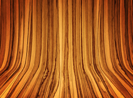 Modern Curved wooden background. Curved wooden interior from vagarious planks and wood types. Stock Photo