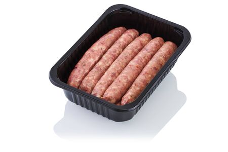 Plastic container with raw sausages isolated on white