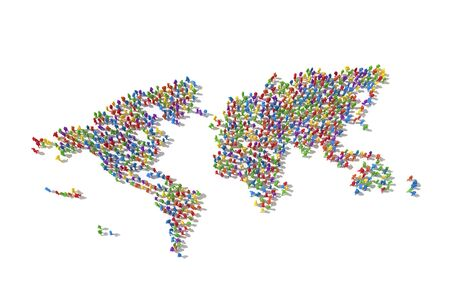 Human Crowd Forming A World Map: Bonding And Social Media Concept