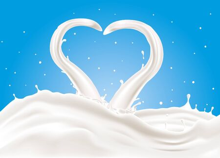 A splash of milk. No transparencies CMYK Vector illustration. Easy to print. Customizable, Easy to edit and change colors.