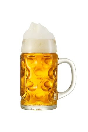 Big traditional glass of Bavarian beer isolated on white