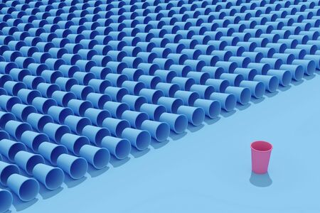 Empty metal cans and disposable papeper cups with plastic lids. Flat lay with hard shadows. 3d rendering. Standard-Bild - 134686954