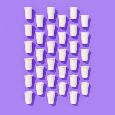 Pattern of empty paper disposable cups are laying on a background with hard shadows Standard-Bild - 134686961