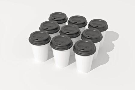 White paper coffee cups and black plastic lids shot on white. 3D Illustration. Standard-Bild - 134686970