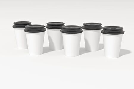 White paper coffee cups and black plastic lids shot on white. 3D Illustration. Standard-Bild - 134686972