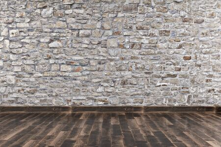 Modern empty interior with stone wall and wooden floor. 3d Illustration Standard-Bild - 134686975