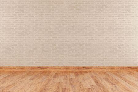Modern empty interior with stone wall and wooden floor. 3d Illustration Standard-Bild - 134687083