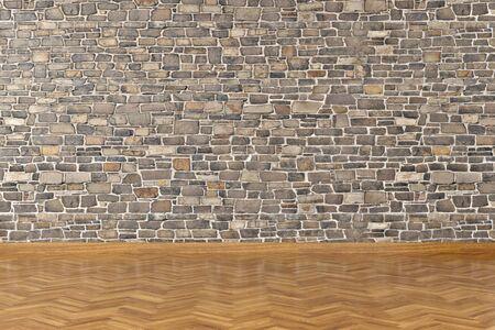 Modern empty interior with stone wall and wooden floor. 3d Illustration Standard-Bild - 134687089